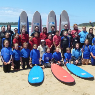 Happy surfing group