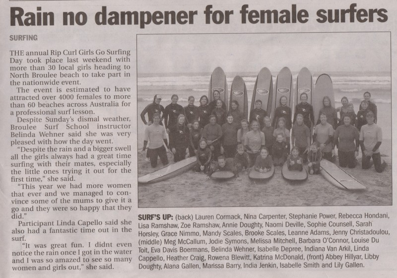 rain no dampener for female surfers
