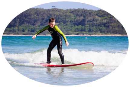 learning how to surf at Broulee beach