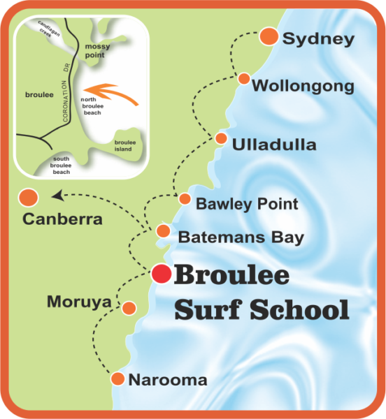 map of Broulee Surf School Location