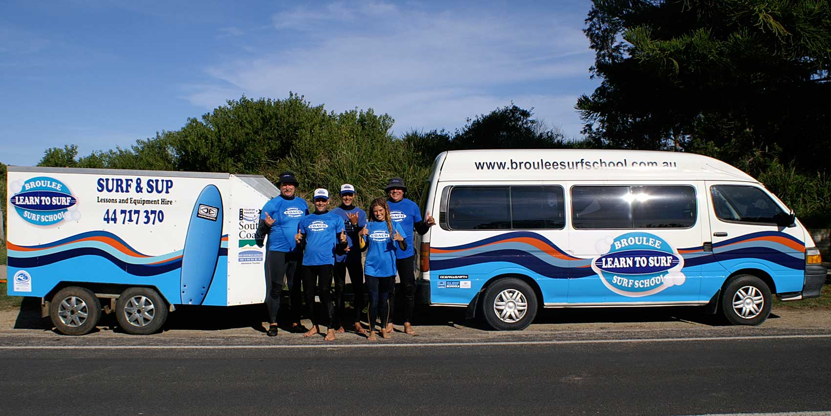 Broulee Surf School Staff and Van