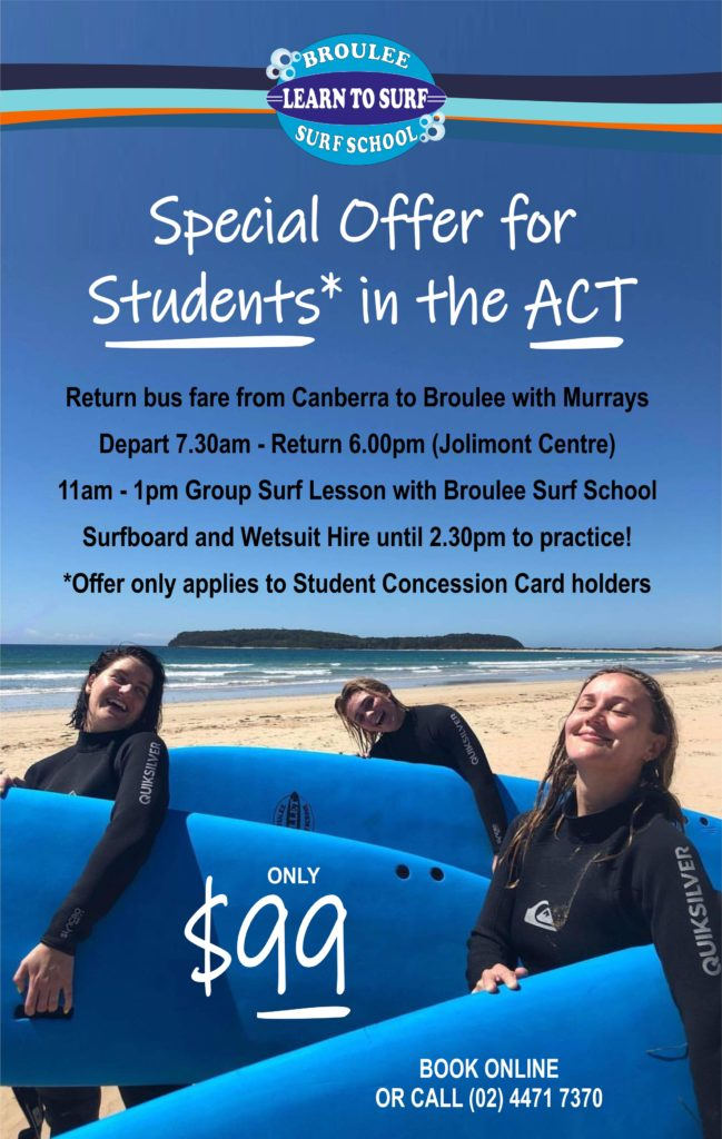 Surf lessons for students